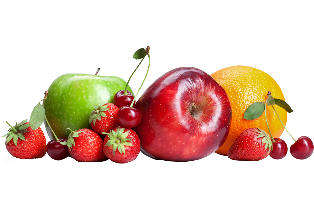 Wallpaper Orange fruit Apples Cherry Strawberry Food Fruit White background