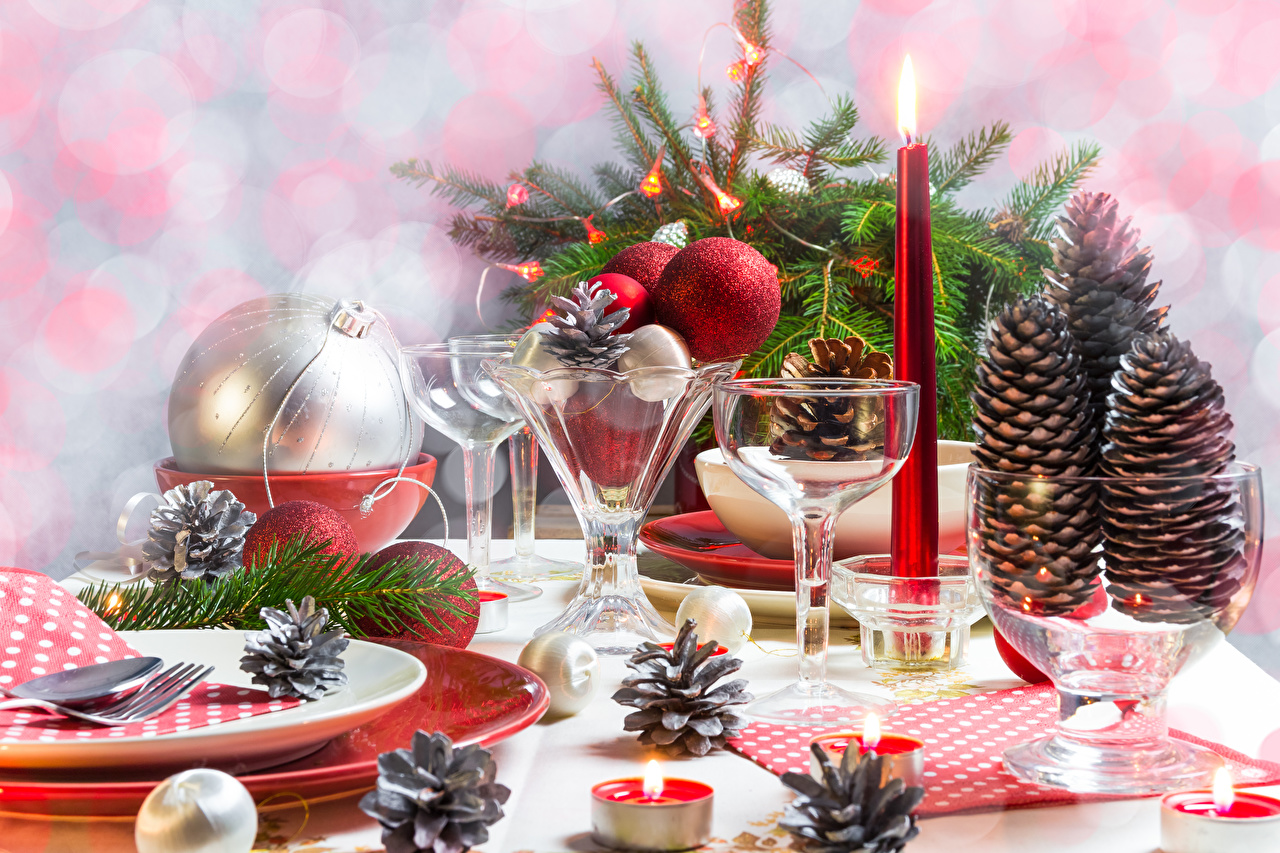 Picture New year Food Balls Candles Stemware Pine cone Holidays Table appointments Christmas Conifer cone