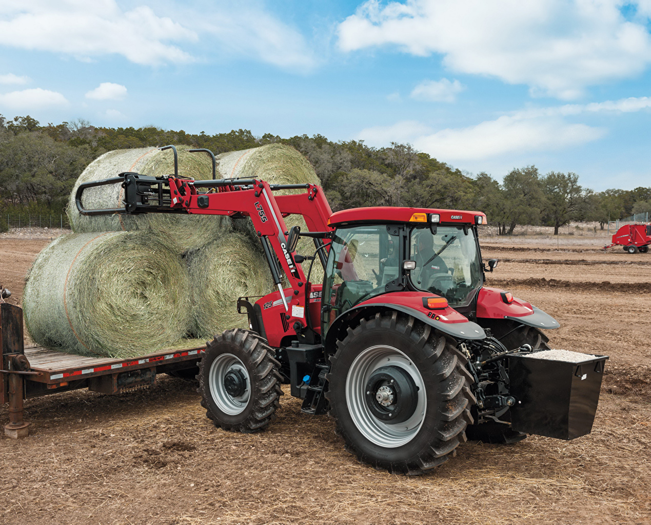 Tapeta na pulpit Maszyna rolnicza traktor 2009-15 Case IH Maxxum 125 Pole rolnictwo Śiano Ciągnik rolniczy pole rolnicze sianie
