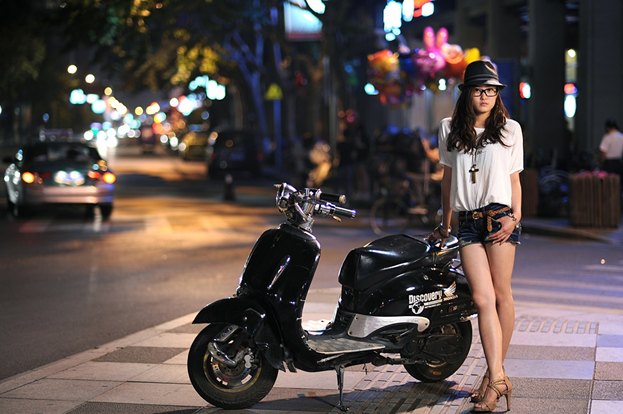 Image Scooter Hat young woman Asian Street Shorts eyeglasses night time Girls female Asiatic Night Glasses