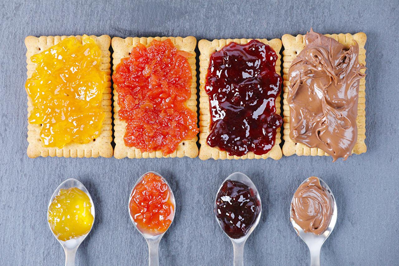 Desktop Hintergrundbilder Warenje Kekse Löffel Lebensmittel Marmelade Konfitüre das Essen