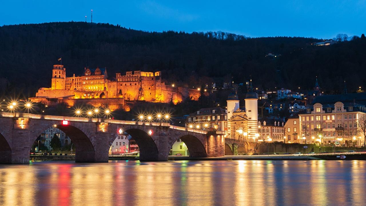 Picture Germany Heidelberg, Neckar river Bridges Castles night time Cities bridge castle Night