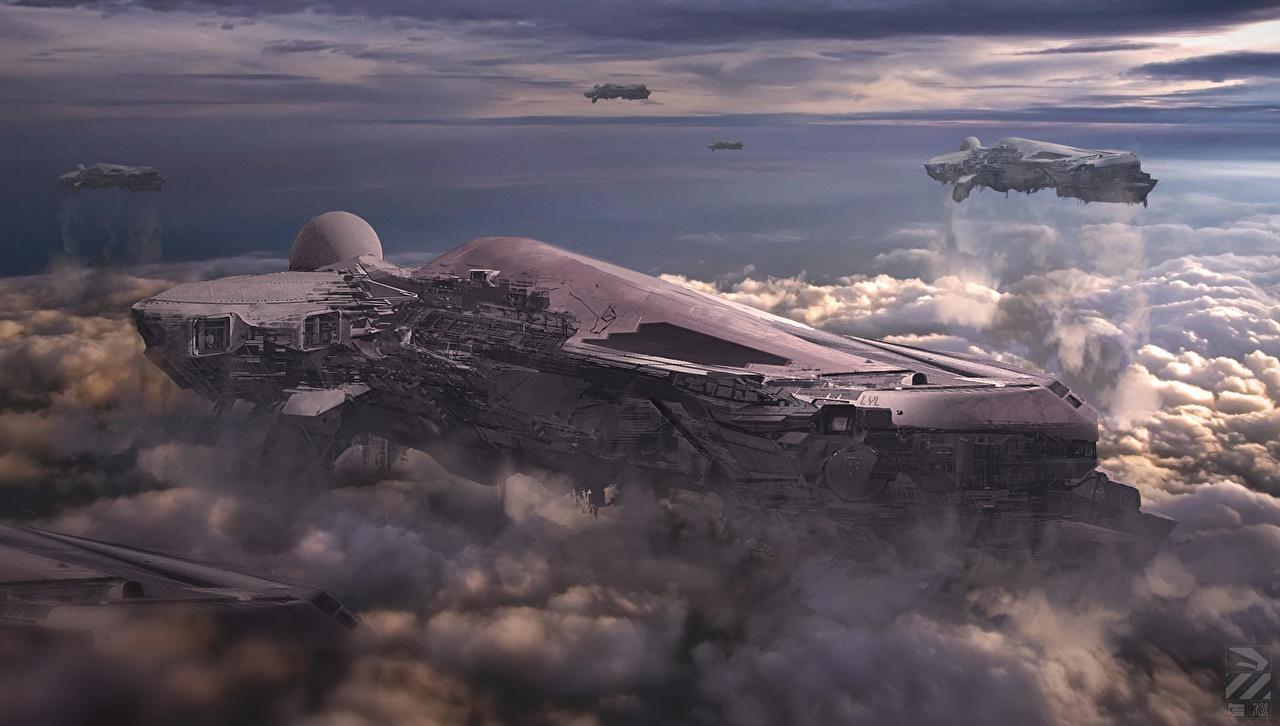 Pictures Fantasy Fantastic world Clouds Technics Fantasy