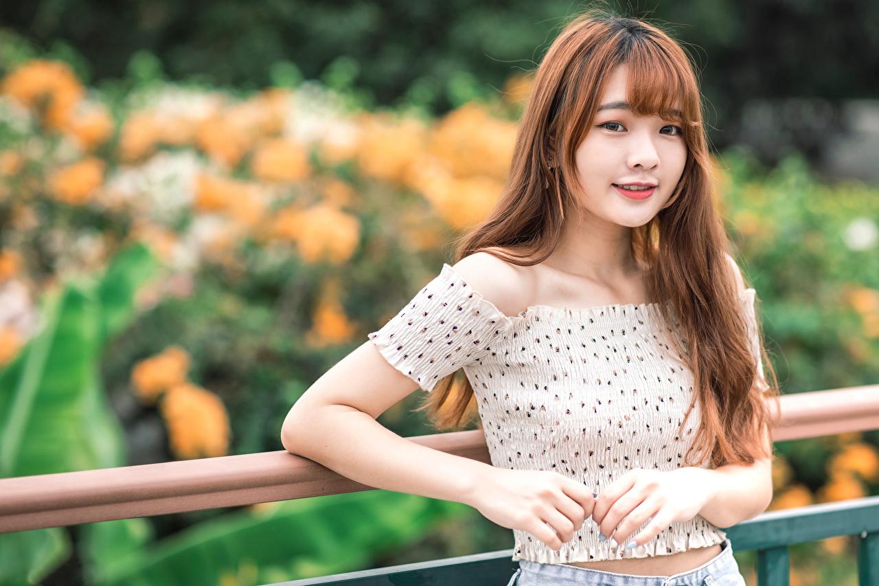 Fotos Lächeln Bokeh Mädchens Asiatische Blick unscharfer Hintergrund junge frau junge Frauen Asiaten asiatisches Starren