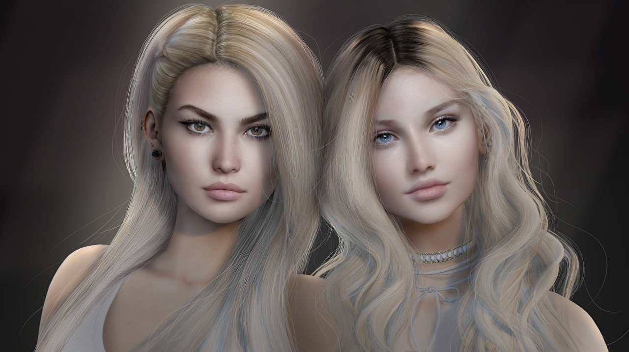 Images Blonde girl Beautiful Two Hair Face young woman 3D Graphics Staring 2 Girls female Glance