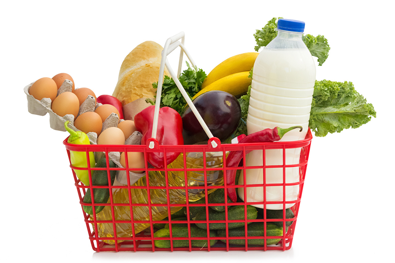 Фотографии Молоко яйцо Корзинка Овощи бутылки Продукты питания белом