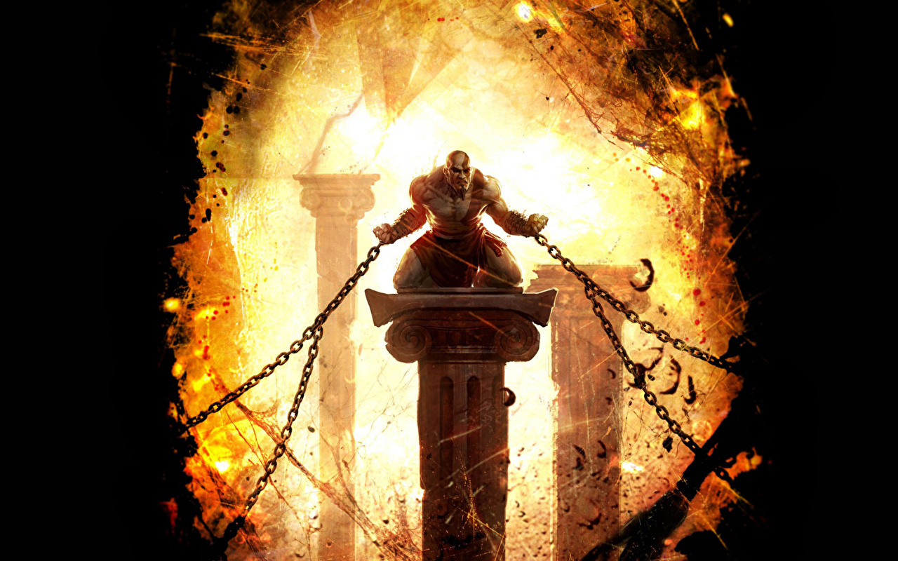 Picture God of War Men Warriors Chain Games Man warrior vdeo game