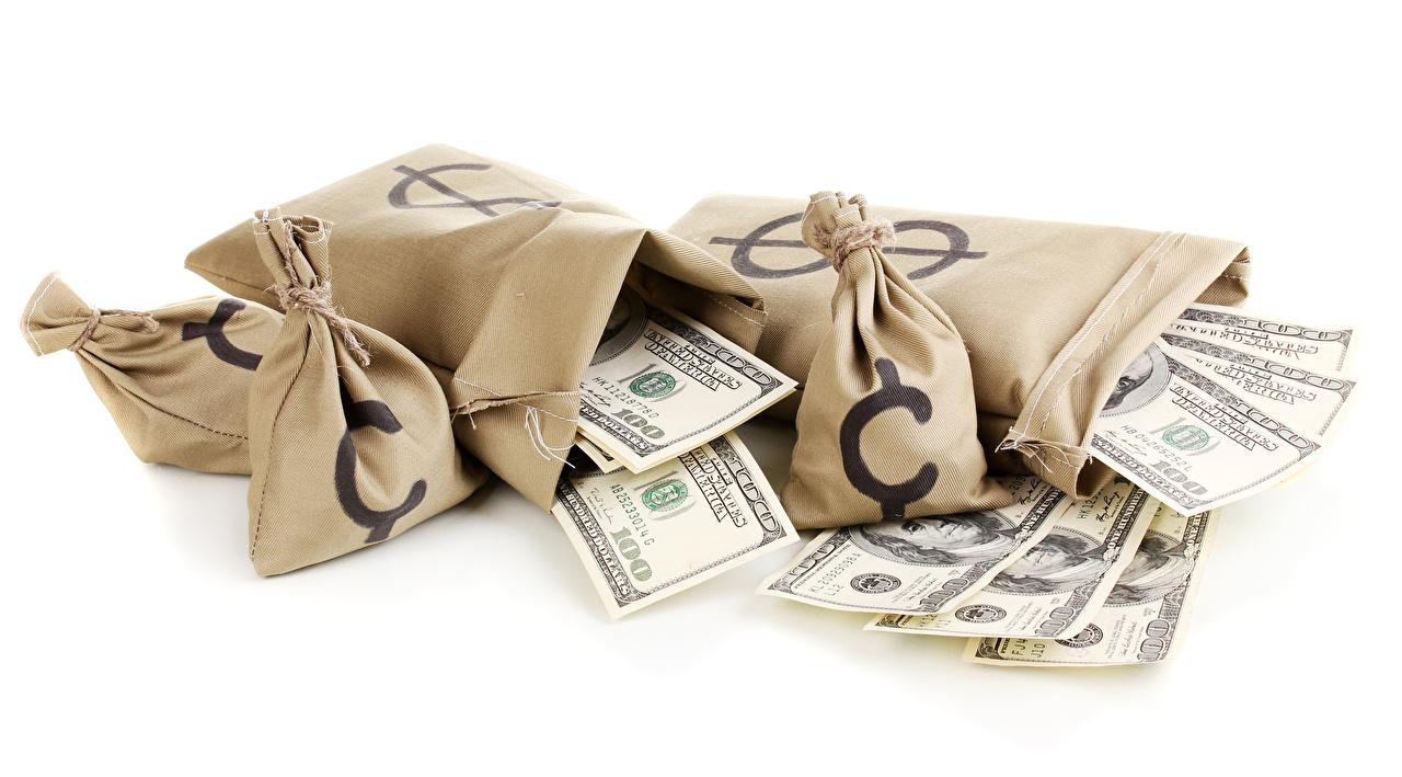 Foto Dollars Papiergeld Geld Weißer hintergrund Banknoten Geldscheine