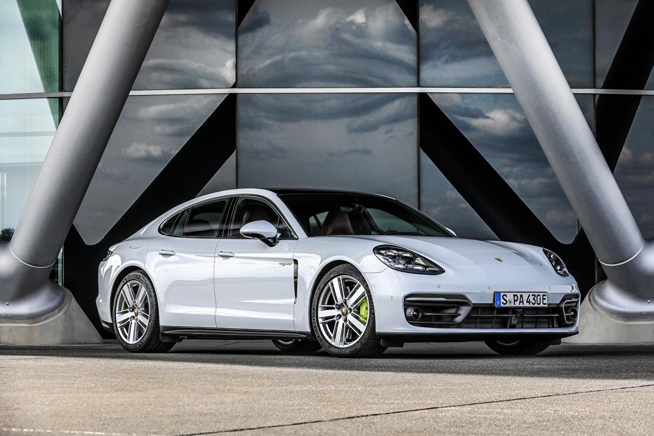 Desktop Wallpapers Porsche Panamera 4S E-Hybrid, (971), 2020 White auto Metallic Cars automobile
