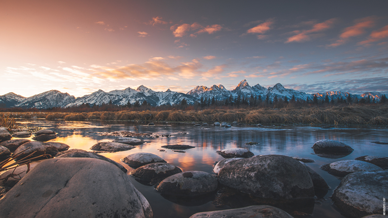 Desktop Wallpapers USA Grand Teton national Park, Wyoming Nature Mountains park Rivers Stones Evening Horizon mountain Parks river stone