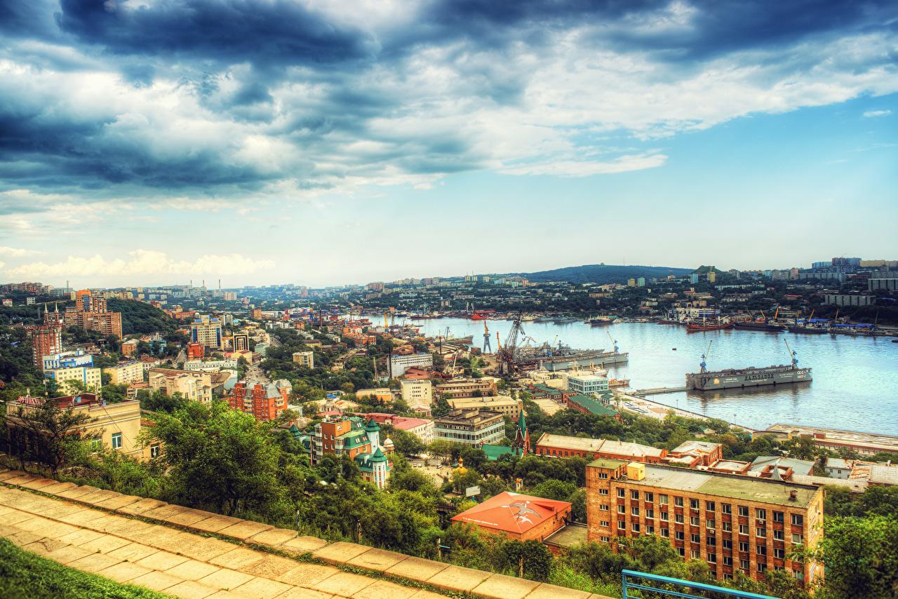 Fotos von Russland Vladivostok HDR Himmel Fluss Schiffsanleger Haus Wolke Städte HDRI Flusse Bootssteg Seebrücke Gebäude
