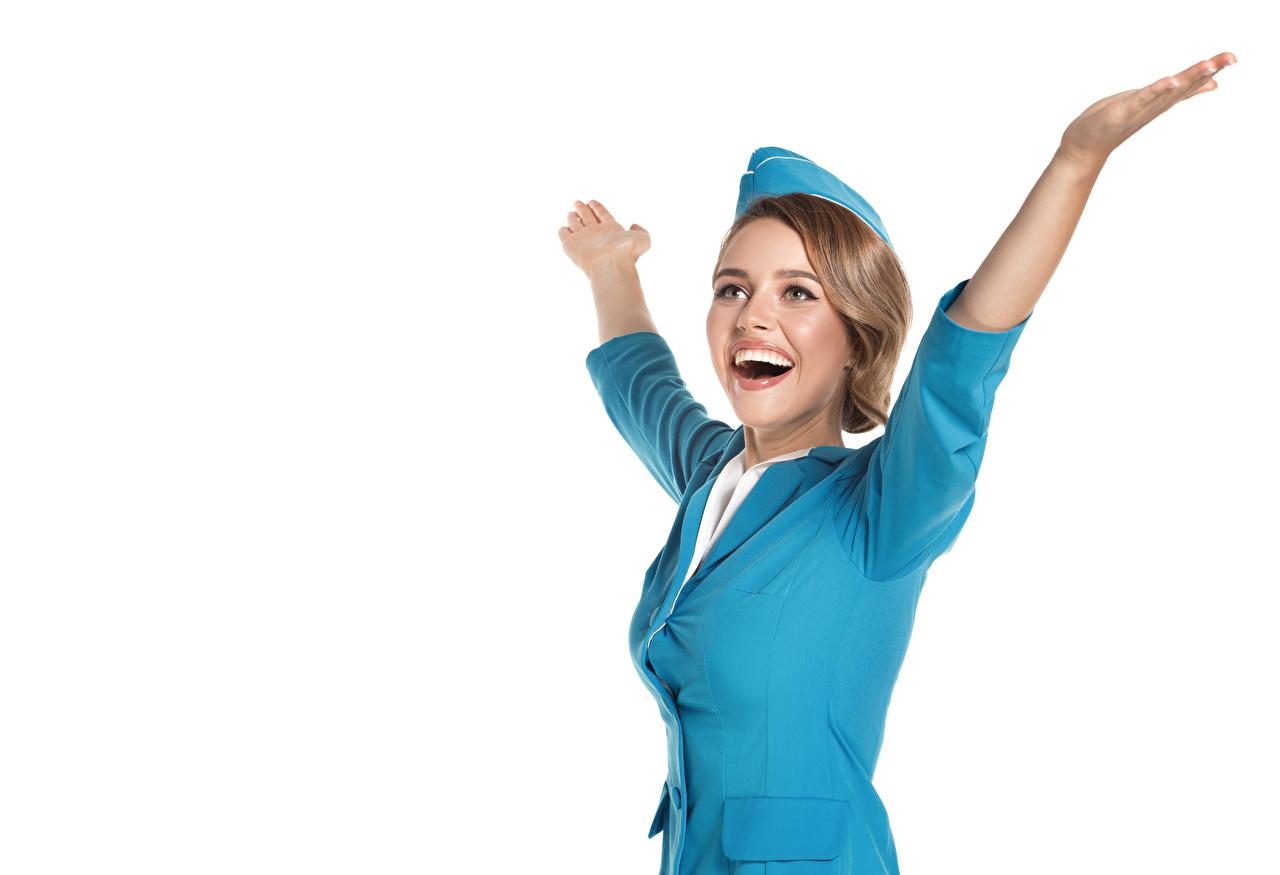 Bilder Blondine Flugbegleiter Freude Mädchens Hand Uniform Weißer hintergrund Blond Mädchen Glücklich
