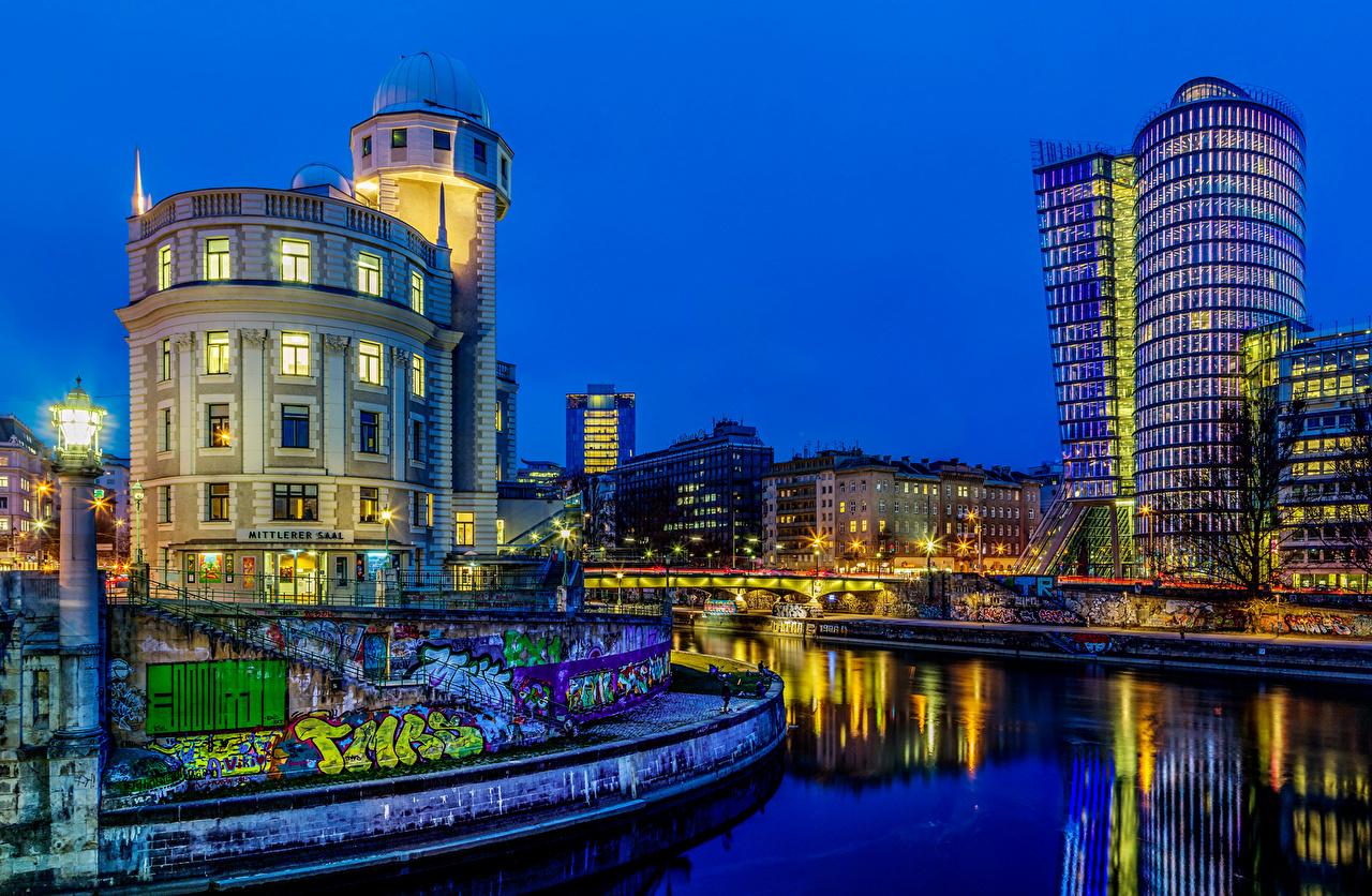 Foto Wien Österrike flod på natten Hus Städer Natt Floder stad byggnad byggnader