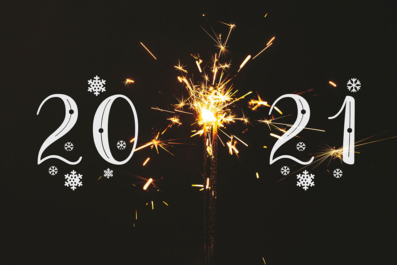 Picture 2021 Christmas Sparkler Snowflakes Black background New year