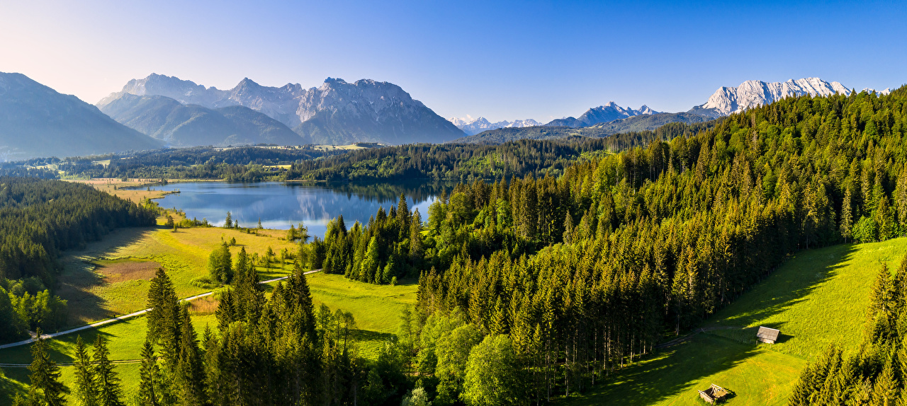 Image Nature panoramic Germany Bavaria Alps Mountains Lake Forests landscape photography Panorama mountain forest Scenery