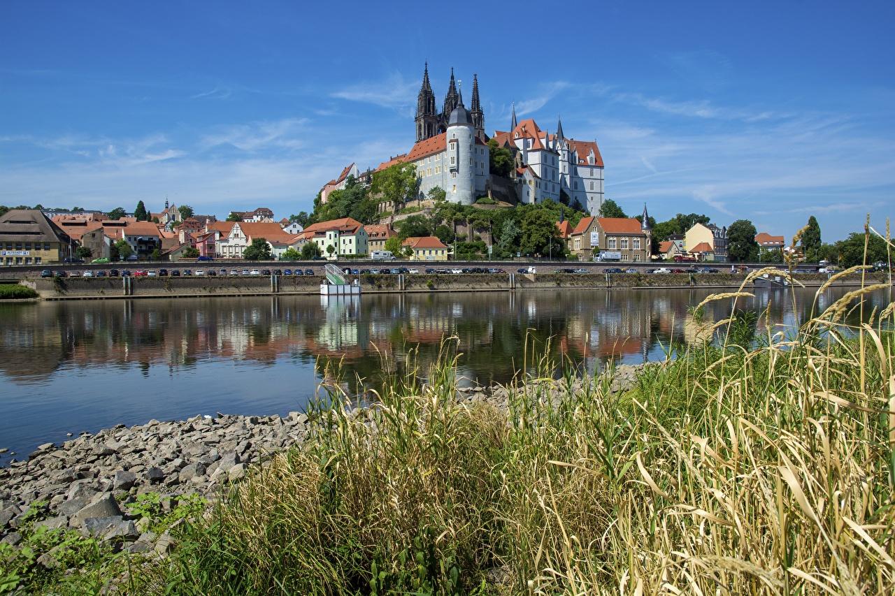 、ドイツ、川、城、Albrechtsburg, Meissen, Saxony, Elbe、草、都市、