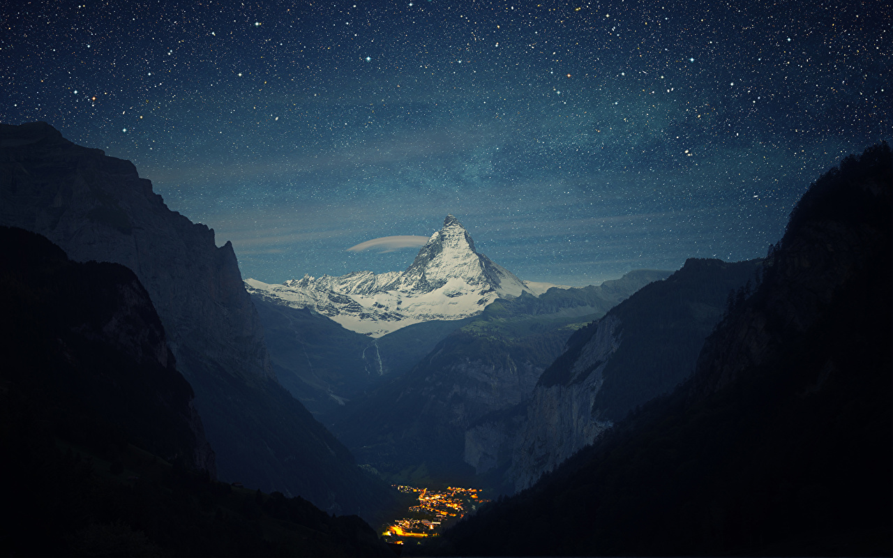 Image Alps Stars Switzerland Nature Mountains Sky Scenery Night mountain landscape photography night time