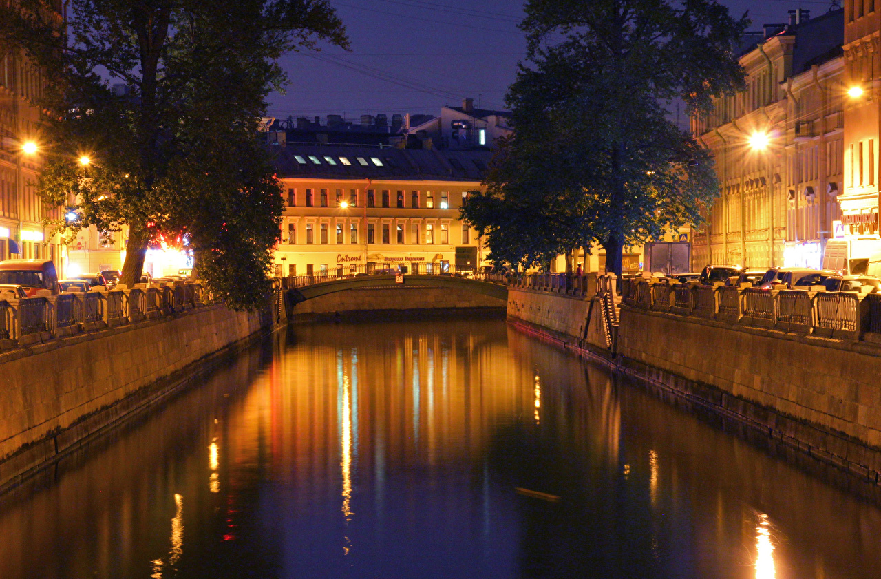 Images St. Petersburg Russia Canal night time Houses Cities Night Building