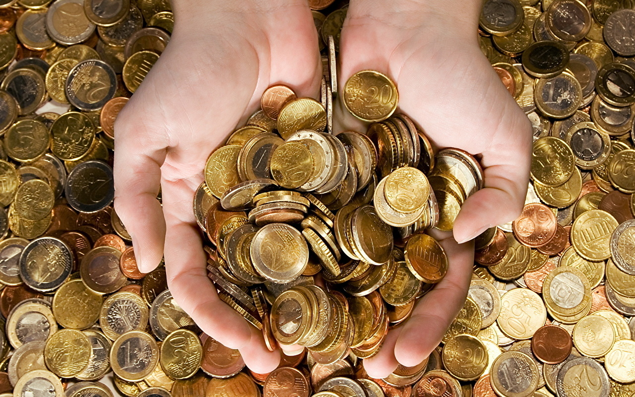 Wallpaper Euro Coins Money Hands Many