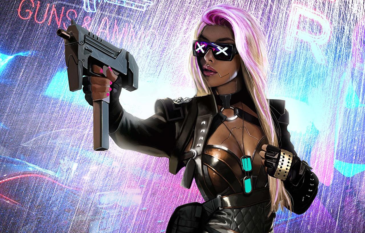 壁紙 アサルトライフル ブロンドの女の子 眼鏡 サイバーパンク ファンタジー 少女 ダウンロード 写真
