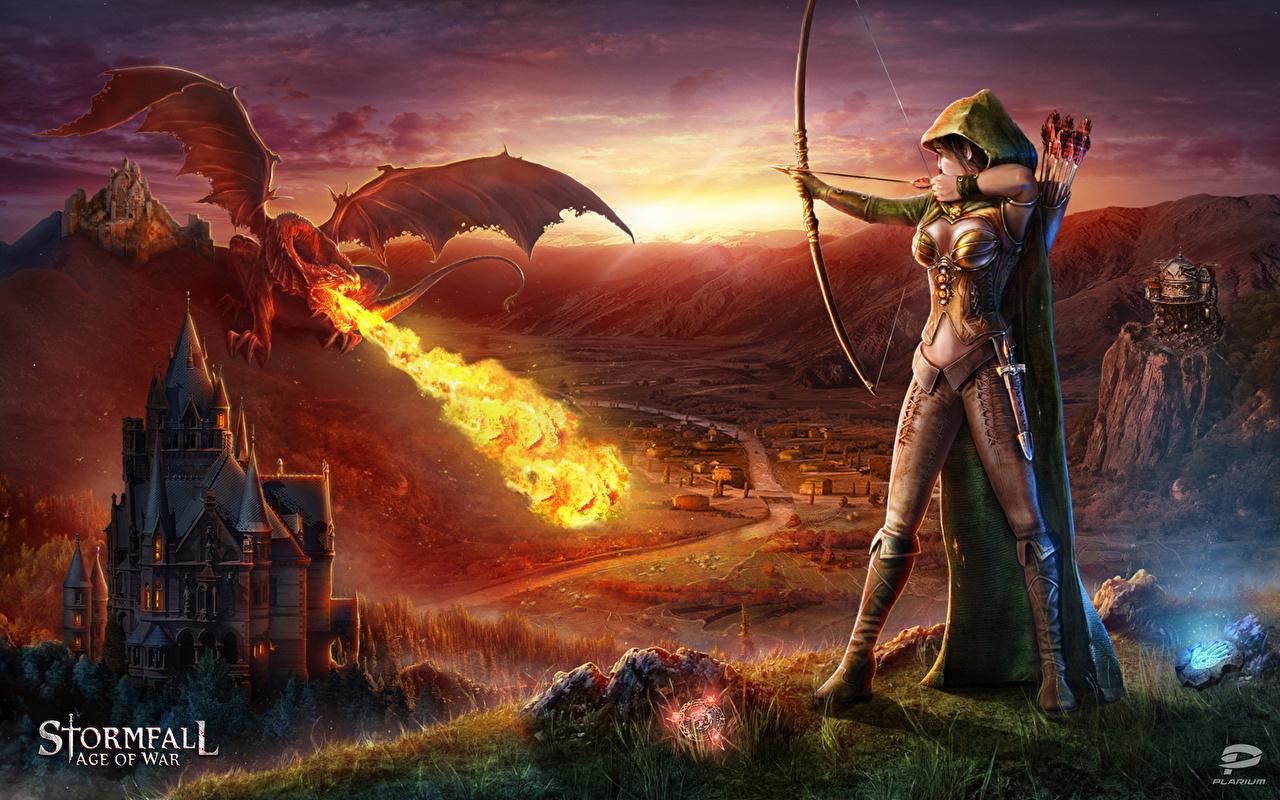Fonds d'ecran Stormfall: Age of War Dragons Feu Archers Elfes Arc arme Jeux Fantasy Filles ...