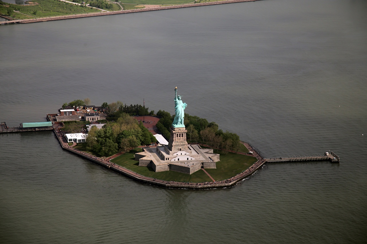 Images Statue of Liberty New York City USA Island From above Cities