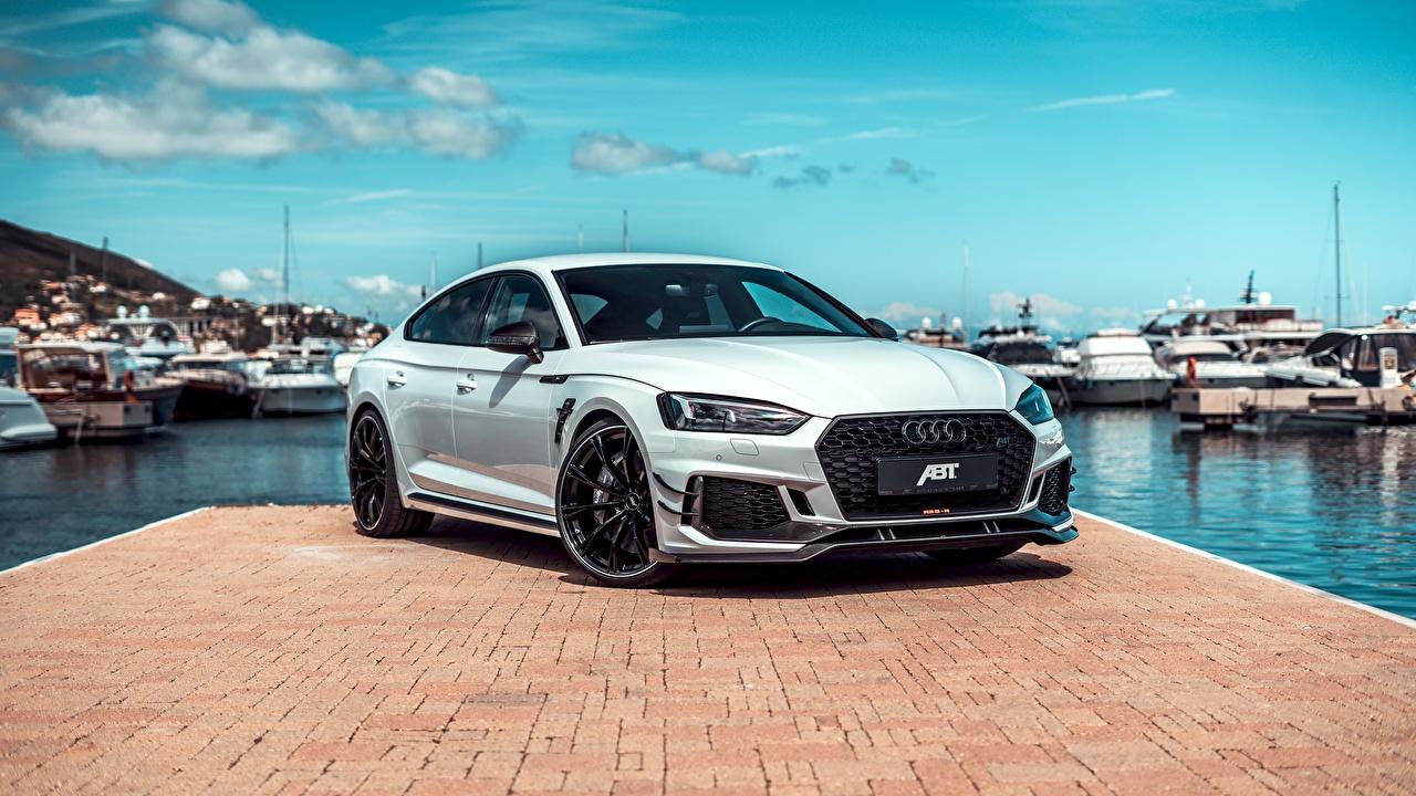 Desktop Wallpapers Audi RS5, ABT, Sportback, RS5-R, 2019 White Pier auto Metallic Cars Berth Marinas automobile