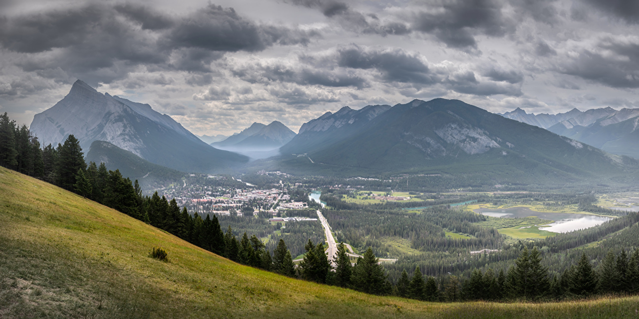 Image Banff Canada Valley Nature mountain park Scenery Clouds Mountains Parks landscape photography