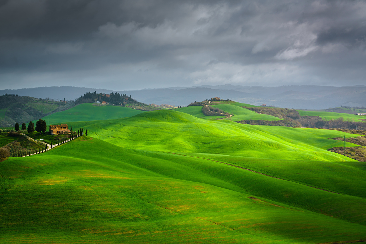 Photos Tuscany Italy Crete Senesi, Asciano Nature Sky Hill Grasslands Clouds Meadow