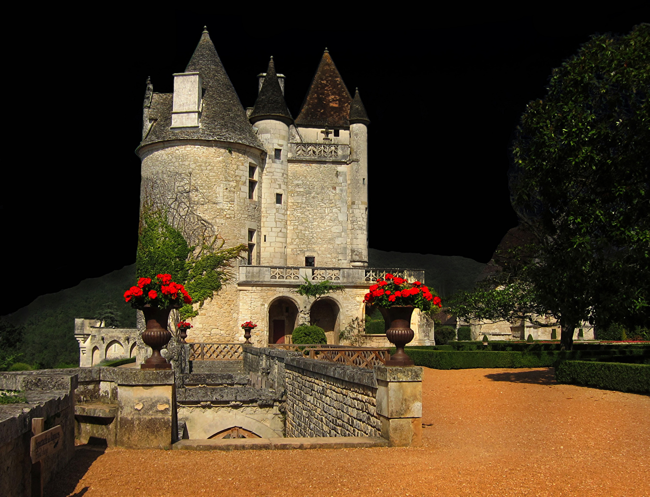 Picture France Chateau des Milandes Castles Night Bush Cities castle night time Shrubs