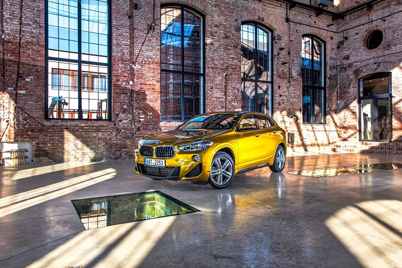 Wallpaper BMW CUV F39 Gold color automobile Crossover Cars auto