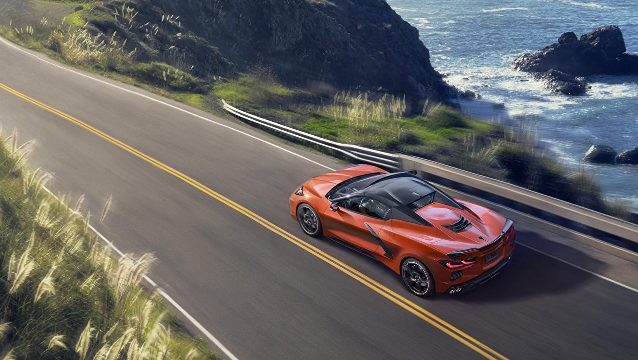 Chevrolet convertible Stingray Corvette C8 Laranja De acima carro, automóvel, automóveis Carros