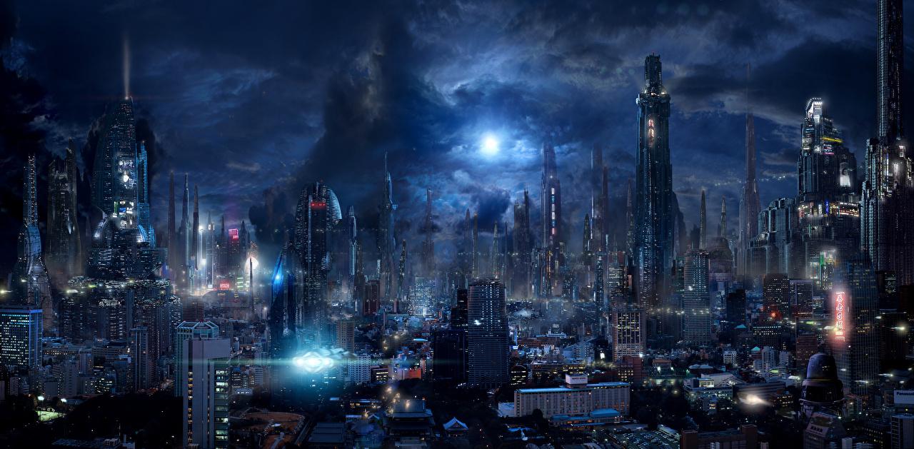 壁紙 幻想的な世界 超高層建築物 夜 ファンタジー ダウンロード 写真