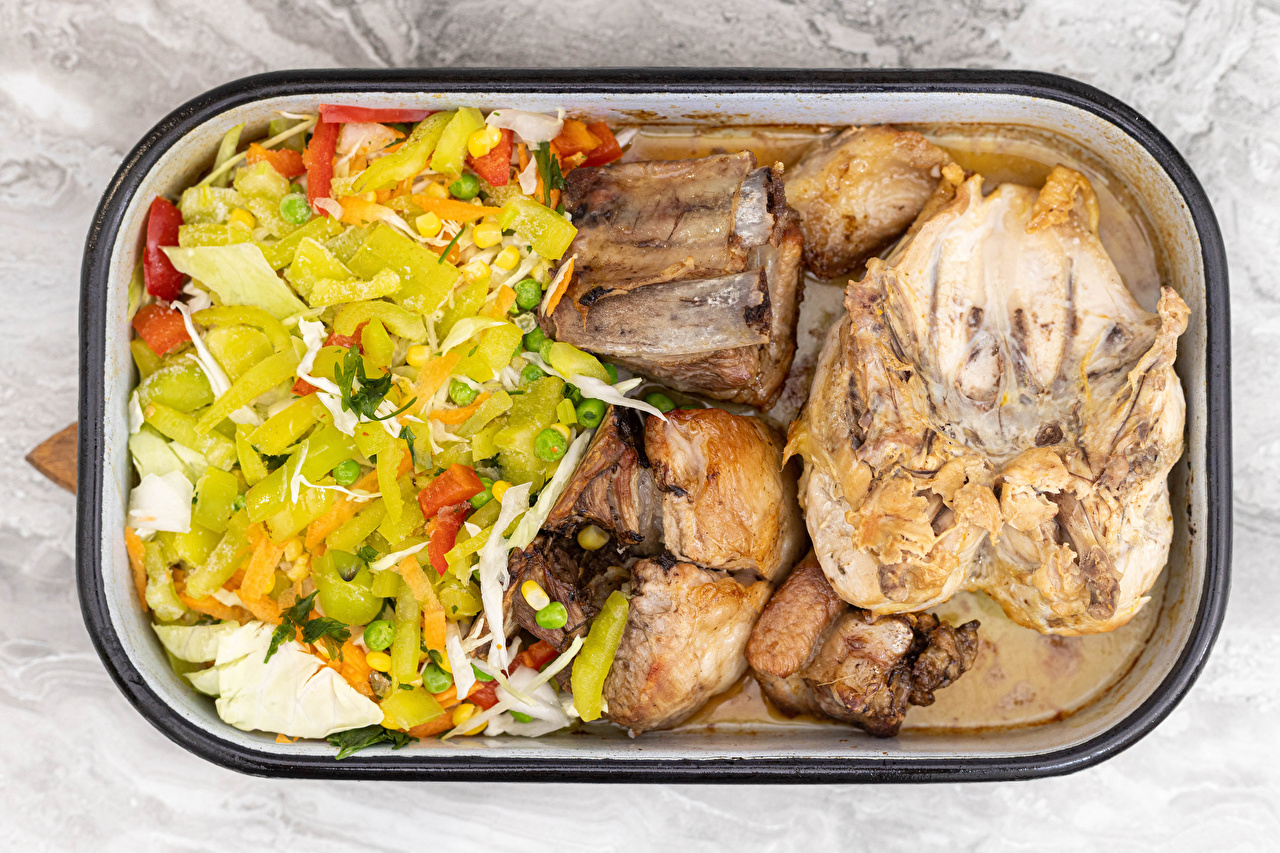 Tapety Pieczony Kurczak Warzywa Sałatka Jedzenie Produkty mięsne sałatki żywność
