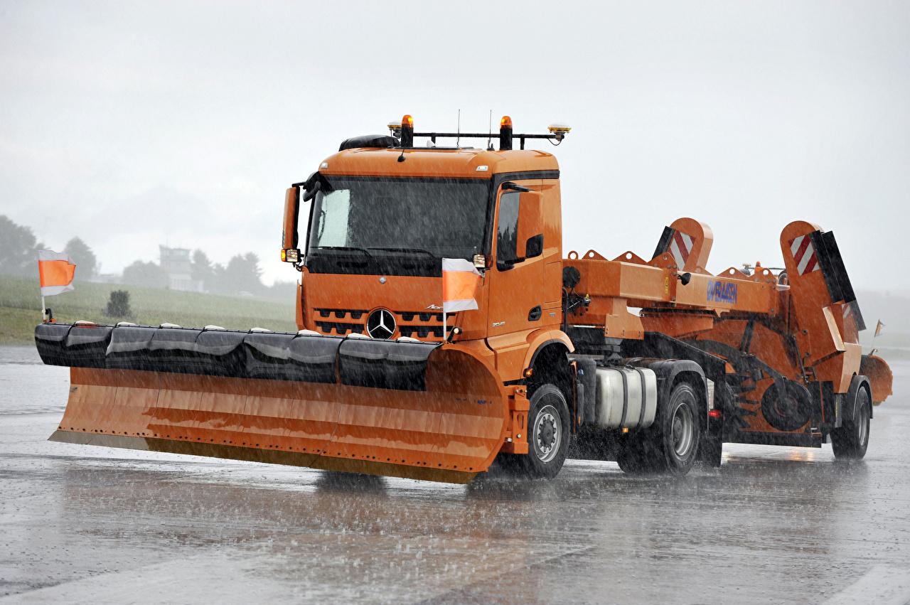 Image Trucks 2017 Mercedes-Benz Arocs 2045 AS Street sweeper Orange Cars lorry auto automobile