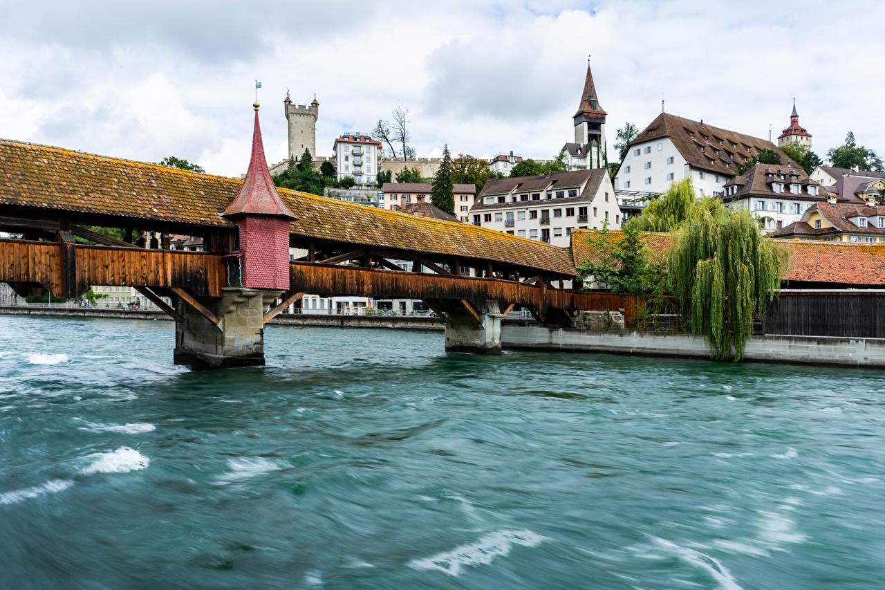Images Switzerland Lucerne bridge Lake Waves Houses Cities Bridges Building