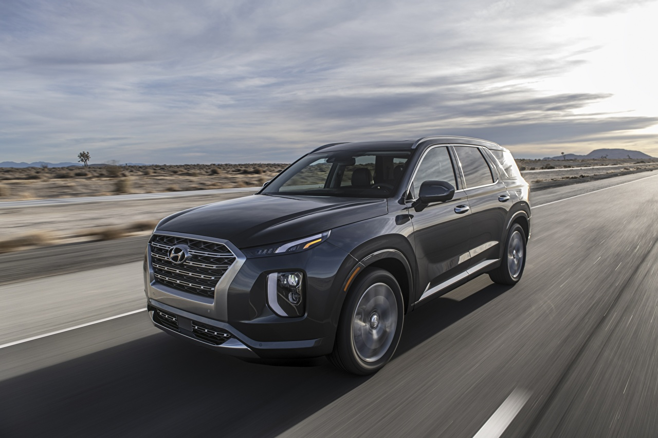 Picture Hyundai Sport utility vehicle palisade Grey riding auto SUV gray moving Motion driving at speed Cars automobile