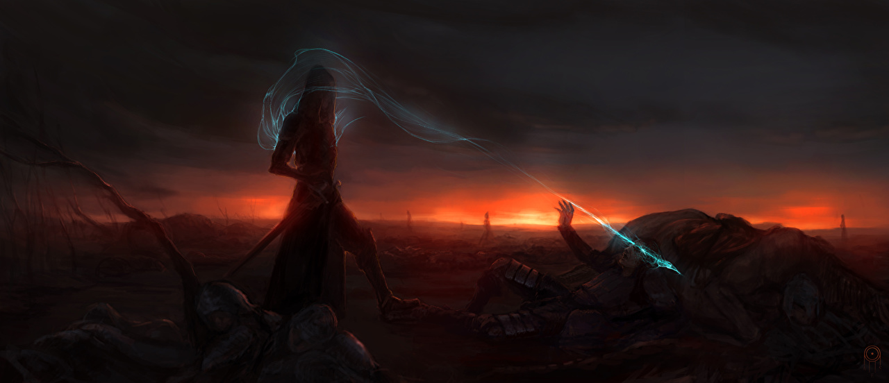 Picture sorcery warrior Fantasy Night Magic Warriors night time