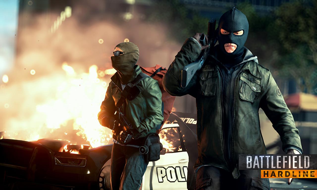 Desktop Wallpapers Battlefield Hardline Man Assault rifle 2 3D Graphics Games Masks Men Two vdeo game
