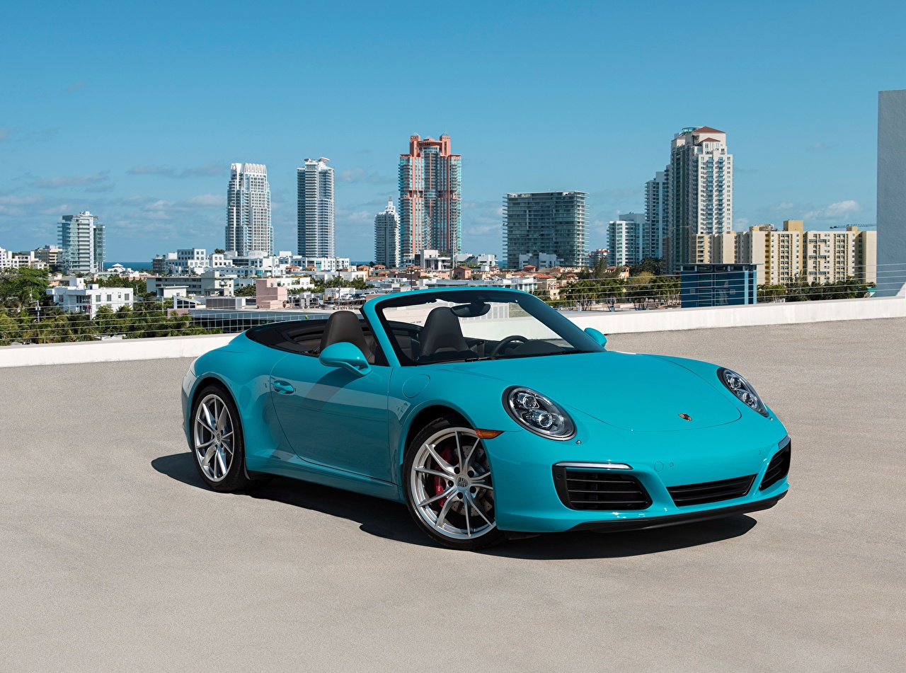 Desktop Wallpapers Porsche 911 Carrera S Cabriolet Light Blue Auto