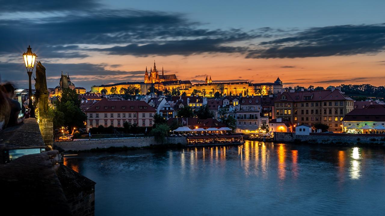Picture Prague Czech Republic Vltava sunrise and sunset river Evening Street lights Houses Cities Sunrises and sunsets Rivers Building