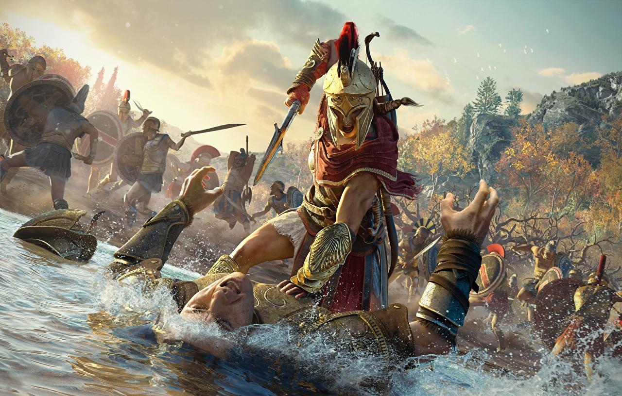 Hintergrundbilder Assassin's Creed Odyssey Helm Mann Krieger Schlägerei Spiele