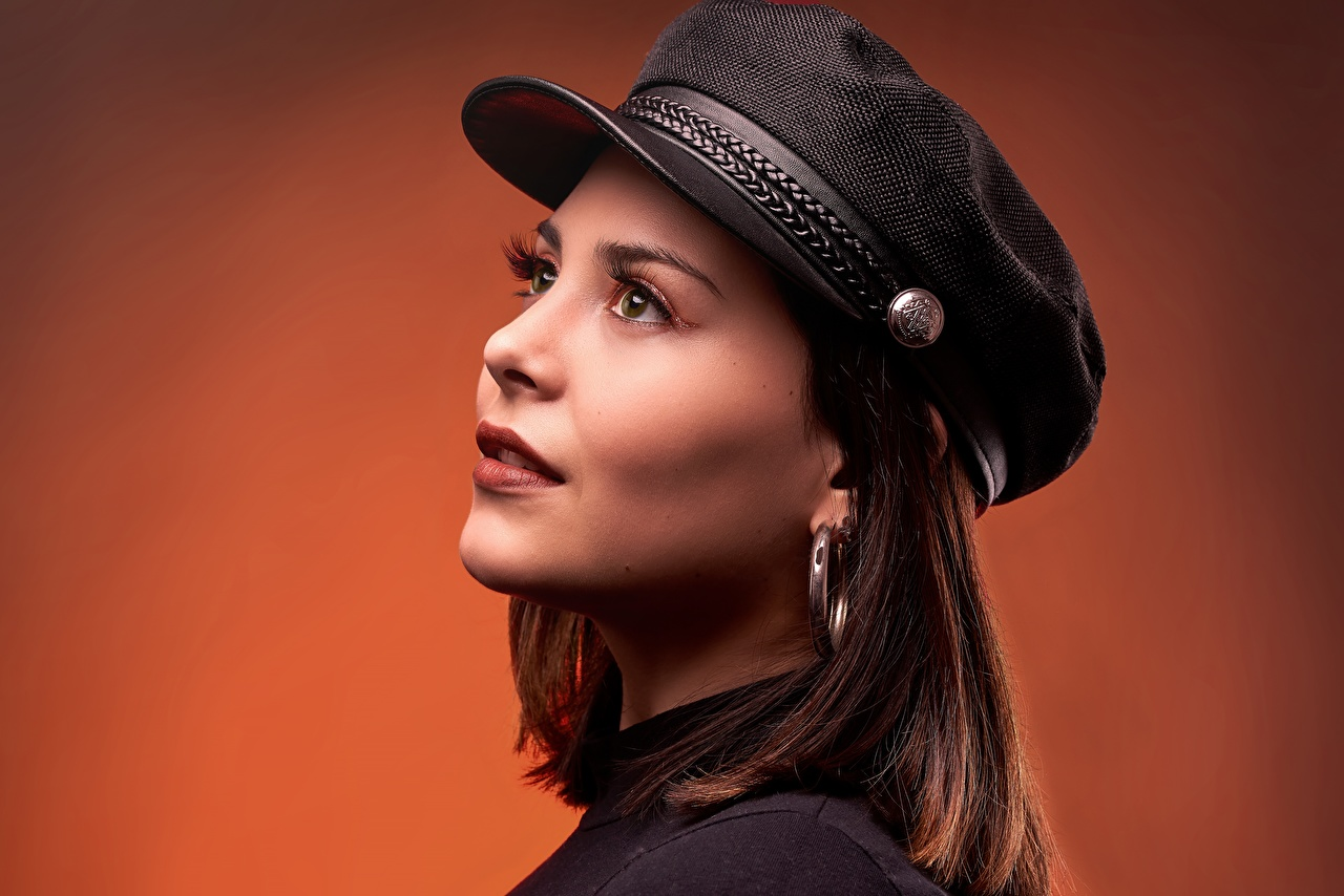 Pictures Brown haired Makeup Girls Baseball cap Colored background female young woman