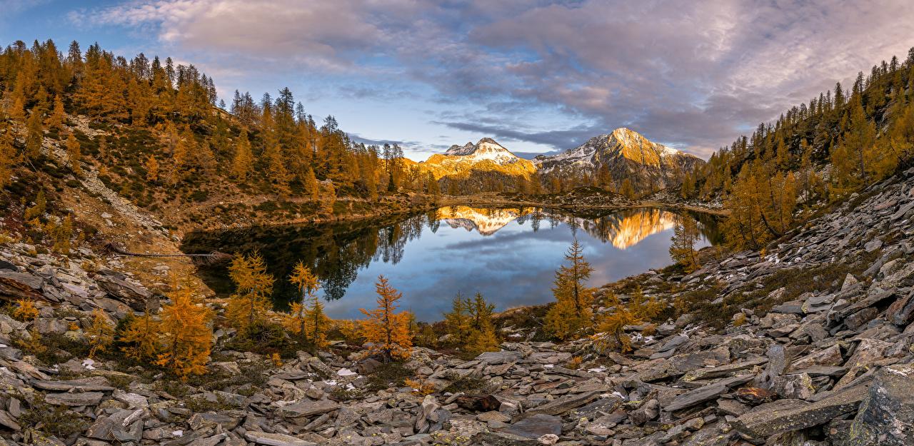 Photos Nature Panorama Switzerland Alps Autumn mountain Lake Scenery stone panoramic Mountains landscape photography Stones
