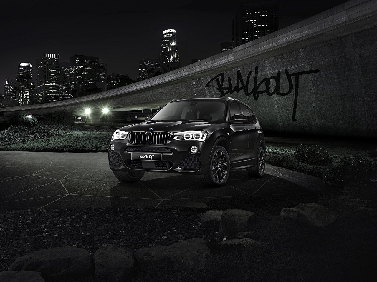Photos BMW X3 F25 Black Cars night time auto Night automobile