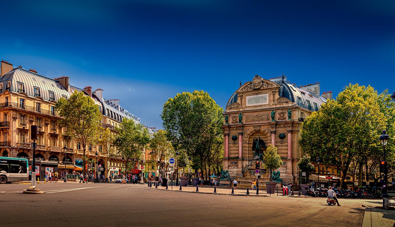 Image Paris France Monuments Town square Place Saint-Michel Street Street lights Houses Cities Building