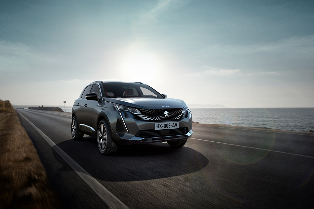 Photo Peugeot Crossover 3008 GT, 2020 gray Roads driving Cars Coast Metallic CUV Grey moving riding Motion at speed auto automobile