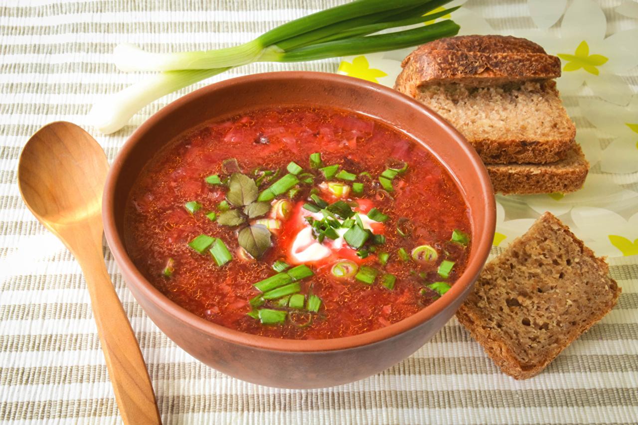 Desktop Wallpapers Borscht Bread Food Spoon Plate Soups