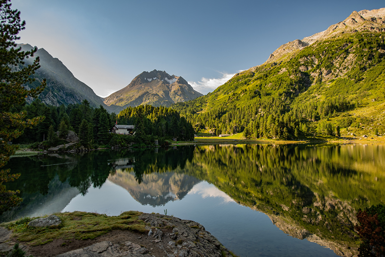 Photos Alps Switzerland Lake Cavloc Nature mountain reflected Mountains Reflection