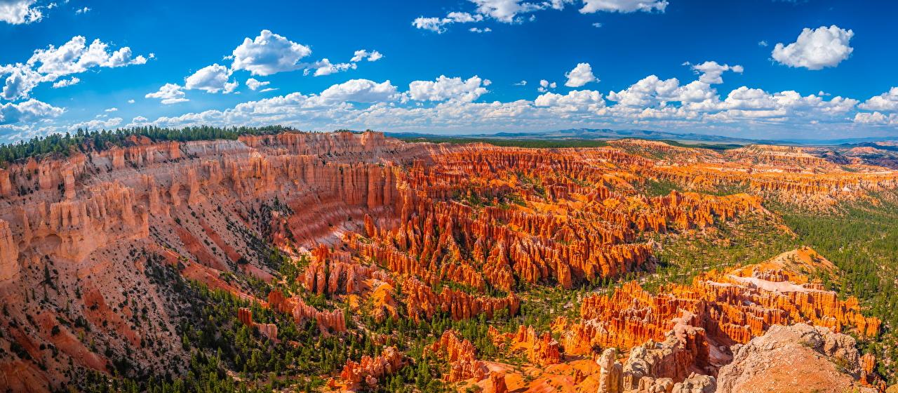 Foto's Amerika panoramische Bryce Canyon National Park Natuur ravijn klif landform park Wolken verenigde staten Panorama Kloof falesia Parken
